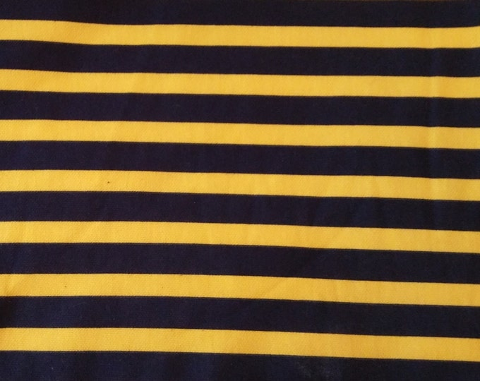 "Blue and Gold 3/4"" Striped Sweatshirt Fleece Fabric"