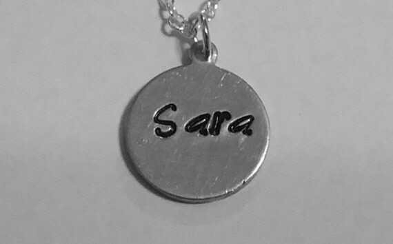 Handstamped name necklace, silver necklace, gifts for her, women jewelry, girls necklace, handstamped charm, children necklace, silver chain