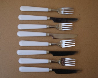 Vintage Soviet Set of 8 Fork and Knife Set/ Stainless steel/ White Plastic Handles/Russian Kitchen Serving