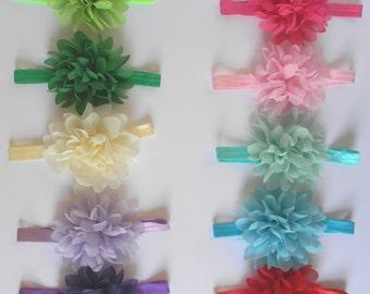 Girls Flower Headband Infant Flower Headband Satin Headband With Large Chiffon Flower