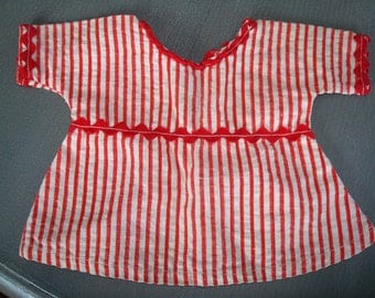 Vintage Red and White Striped Doll Dress - Circa 1950's - Adorable - Excellent Condition!!