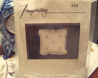 Vintage Imaginating Cross Stitch Pillow Kit #448 - Little Pink Flowers - Lace Trim - New In Package!!