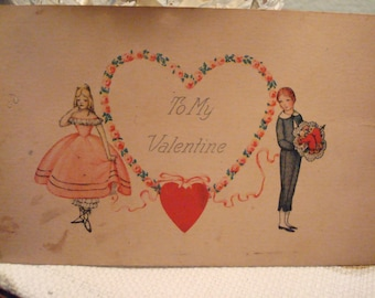 "Vintage ""To My Valentine"" Postcard - Circa 1 930's- Great Vintage Condition!!"