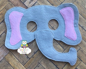 Elephant Mask, Kids Dress Up Mask, Elephant Costume Mask, Wool Blend Mask, Felt Elephant Mask, Jungle Party Favor, Monkey Mask