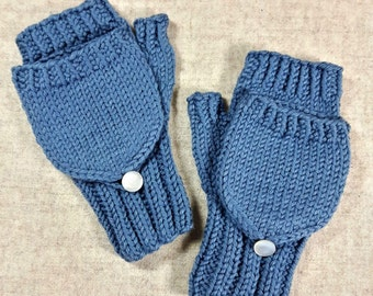 Convertible Fingerless Gloves for toddlers, blue, organic merino wool, arm warmers with flap, gift for kids