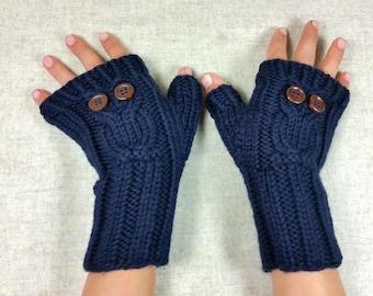 "Organic Fingerless Gloves ""Owl"" for kids, dark blue, mittens wool merino, arm warmers"