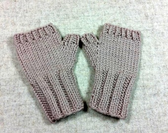 Organic Fingerless Gloves for Babies and Toddlers, beige, 7 to 18 Months, pure Wool, Handknitted Wrist Warmers, Mittens