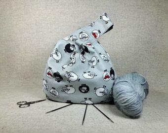Kniting Project Bag, sheep, dots, black, gray, crocheting project bag