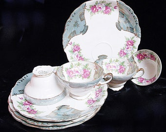 Gorgeous Luster China 8 PC SNACK SET Tea Cups and Plates
