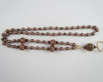 151 - Brown Pearl Lanyard with Bling