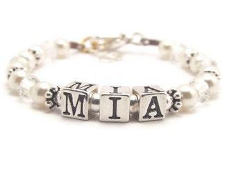 Baby Name Bracelet, Baby Pearl Bracelet, Flower Girl Bracelet, Baby Shower Gift, Baby Bracelet, Christening Bracelet, First Communion (B68)