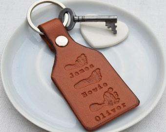 Personnalisé auprès l'empreinte en cuir porte-clés | Personnalisé cadeau pour papa | Livraison gratuite au Royaume-Uni