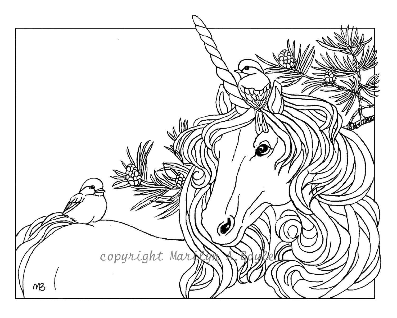 ADULT COLORING PAGE Unicorn and chickadees Christmas theme