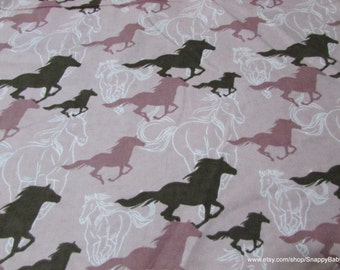 Flannel Fabric - Horses Running Sketch Pink - 1 yard - 100% Cotton Flannel