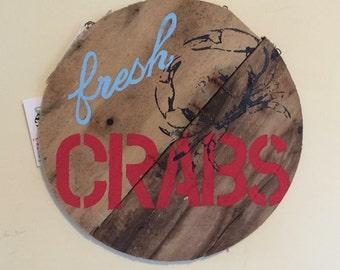 Crab Sign Reclaimed Wood Crab Basket Bottom Art Sign Hand Painted, Secret Santa Gift