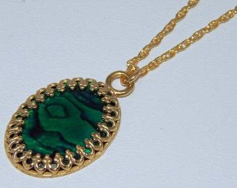 Green Paua Shell Necklace. Abalone. Paua Shell Necklace. Paua Shell in Gold Setting.