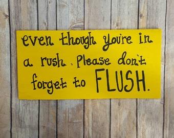 Yellow Bathroom Signs rustic bathroom sign | etsy