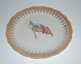 Vintage McNicol American Flag 48 Stars Plate with Lustre Trim