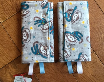Baby Carrier Strap Drool Pad Cover with snaps, space monkeys