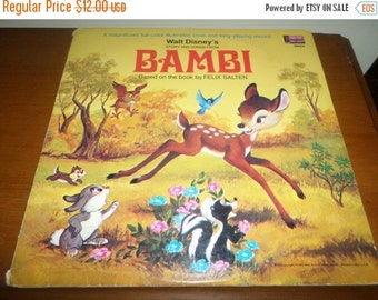 Save 25% Today Vintage 1969 Walt Disney Productions 33 RPM Record Bambi Good Condition