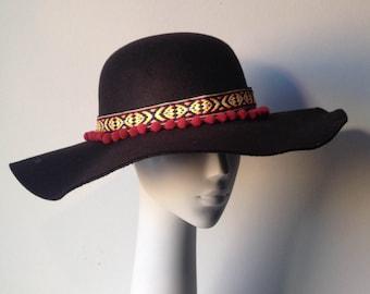 Boho Floppy Hat in Black, Winter Floppy Hat, Felt Hat, Winter Hat, Boho Hat, Womens Hat, Winter Accessories