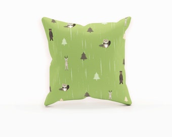 Woodland Pillow, Woodland Nursery Pillow, Woodland Nursery Decor, Green Throw Pillow, Kids Throw Pillow, Woodland Animal Pillow, Forest, Kid