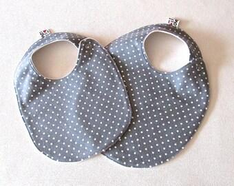 Tossed dots BABY Bib, Grey Polka Dot Baby Bib, Gender Neutral Bib , Grey Bib, Unisex Baby Shower Gift , Modern Bib, Grey Baby Bib