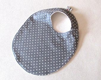 Tossed dots TODDLER Bib, Grey Polka Dot  Bib, Gender Neutral Bib , Grey Bib, Unisex Baby Shower Gift , Modern Bib, Grey  Bib