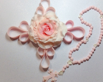 Edible Cake Topper ~ Rosary for Baptism Christening Cakes ~ Holy Communion ~ Cross ~ Scrolls, Ambre Rose & Rosary ~ Sugar Flowers
