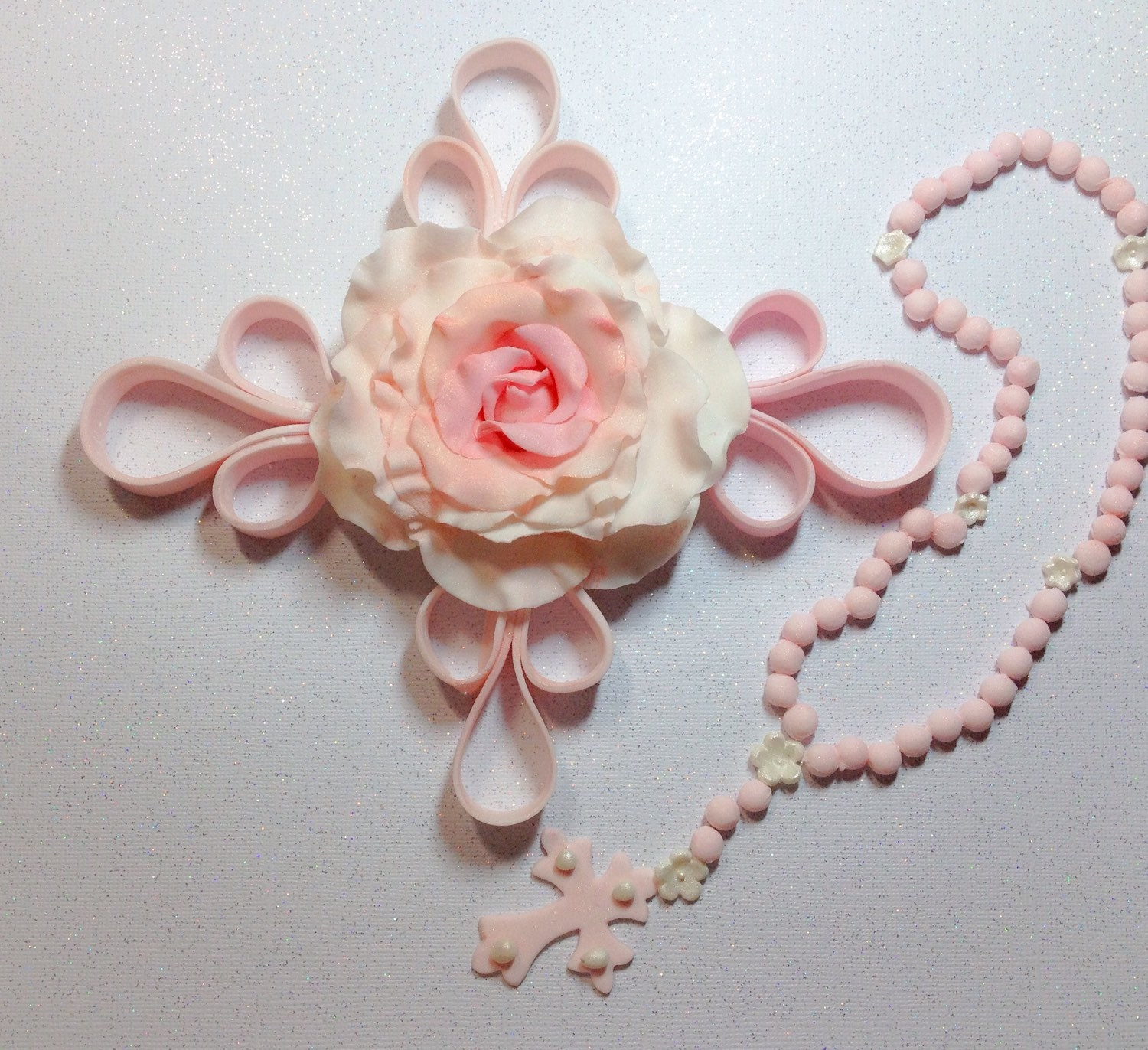 Cake Decoration Rosary Beads : Edible Cake Topper Rosary for Baptism Christening Cakes