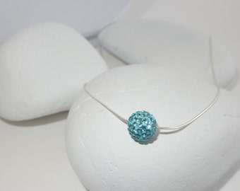Round Blue Crystal Pendant Necklace With Sterling Silver Chain