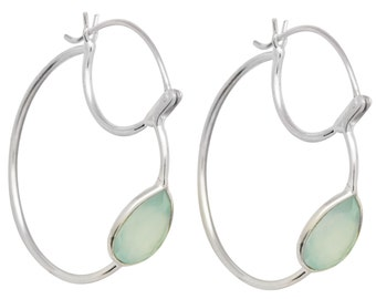 Aqua Chalcedony Gemstone Earrings Solid 925 Sterling Silver Jewelry IE20664