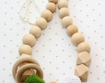 Natural Teething necklace with wooden ring. Breastfeeding necklace. Baby Sling necklace. Nursing necklace