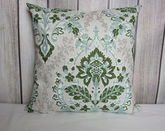Throw Pillow. Floral Pillow. Pillow Cover. Green Pillow. Juniper Green Pillow.