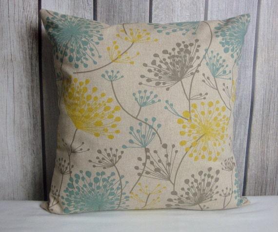Throw Pillow. Floral Pillow. Aqua Blue Pillow. Yellow Pillow. Beige Pillow. Grey Pillow