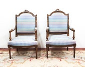Pair of French Bergere Pastel Arm Chairs