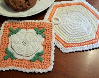 Vintage Sweet Little Hand Crochet Peach, and White Holders Set of 2 Trivet-Linen-Cottage-Wedding-Kitchen