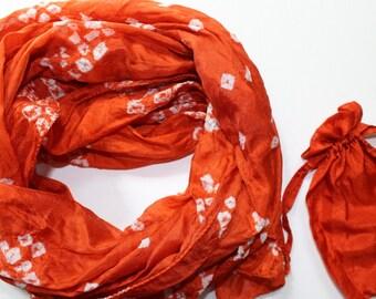 Orange silk scarf - orange scarves - unique scarves - silk tie dye scarves - mayil silk scarves - handmade - colorful scarves - gift for her