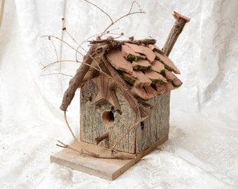 Rustic, Primitive Bird House made from old reclaimed barn lumber.