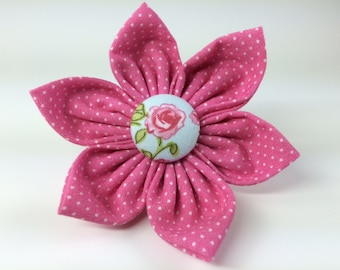 Pink Polka Dot Rose Collar Flower