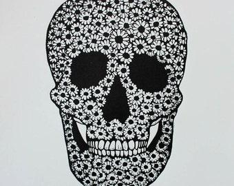 Skull with Daisies Lino Cut / Block Print