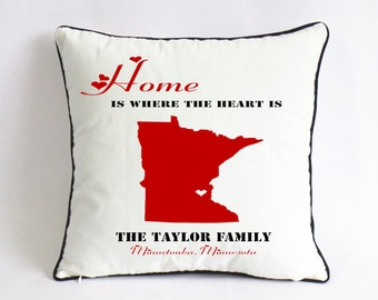 Long Distance Family Pillow CaseXmas Gift For FamilyUS Map - Us map pillow personalized