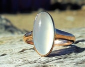 Vintage Antique Moonstone Unique Engagement Ring 12k Rose Gold Victorian/Art Deco Bezel Set