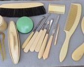 Vanity Set of Pyralin Celluloid Vintage Grooming Tools