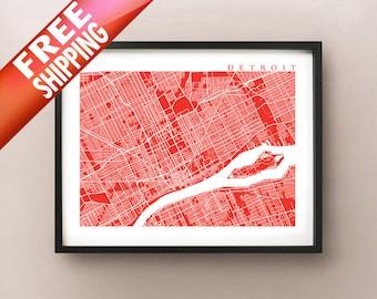 Detroit Map Art - Michigan Poster Print - custom map, choose your color