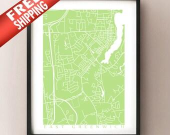East Greenwich Map Print - Rhode Island Poster