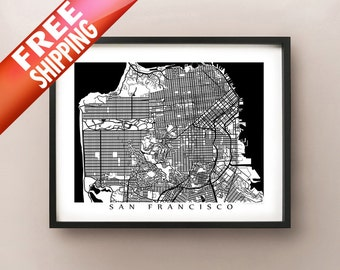 San Francisco Map, Black and White Poster Print