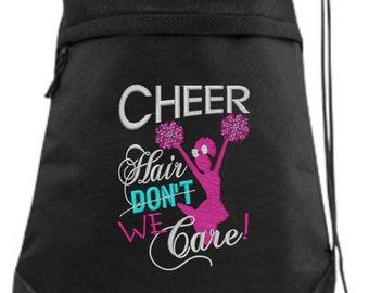 Cheer Drawstring Bag/ Embroidered Cheer Bag/ Cheer Hair Don't Care/ Cheer Cinch Drawstring Bag/ Embroidered Bag