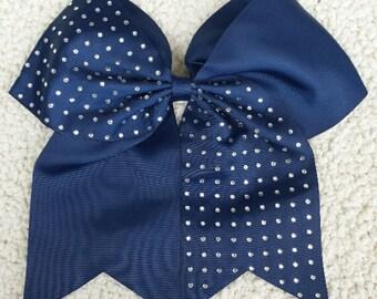 Half Rhinestone Navy Blue Cheer Bow Cheerleader Cheerleading Sports Bling
