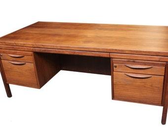 Jens Risom Walnut Double Pedestal Desk